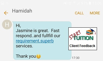 Review from Hamidah: Jasmine is great. Fast respond and fulfill our requirement. Superb services. Thanks you :)