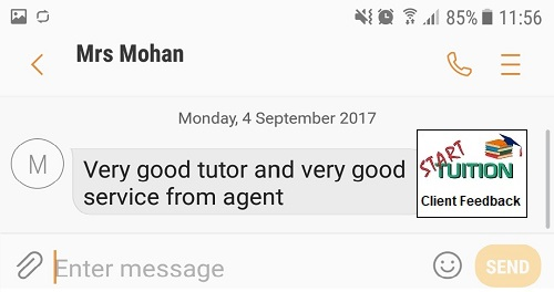 Review from Mrs Mohan: Very good tutor and very good service from agent.