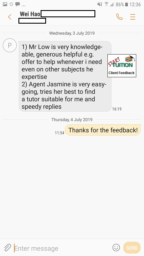 Review from Wei Hao: Jasmine is very easy-going, tries her best to find a tutor suitable for me and speedy replies